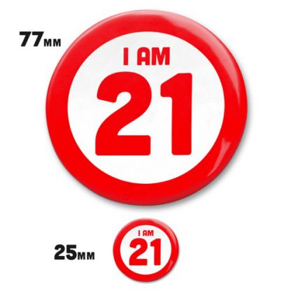 small 25mm and large 77mm badge