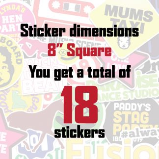 "18x 8"" Full Colour Die Cut Stickers"