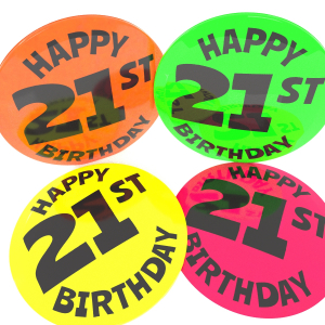 Bright neon birthday badge