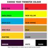 iron on tranfer colour range