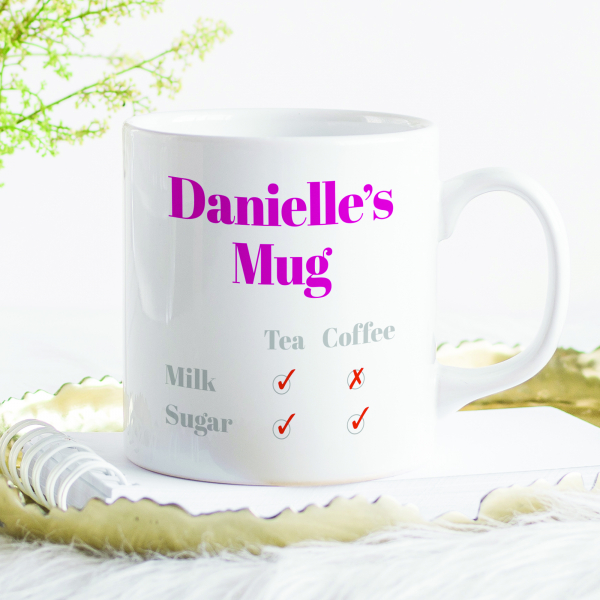 Pesonalised Mug with tick boxes