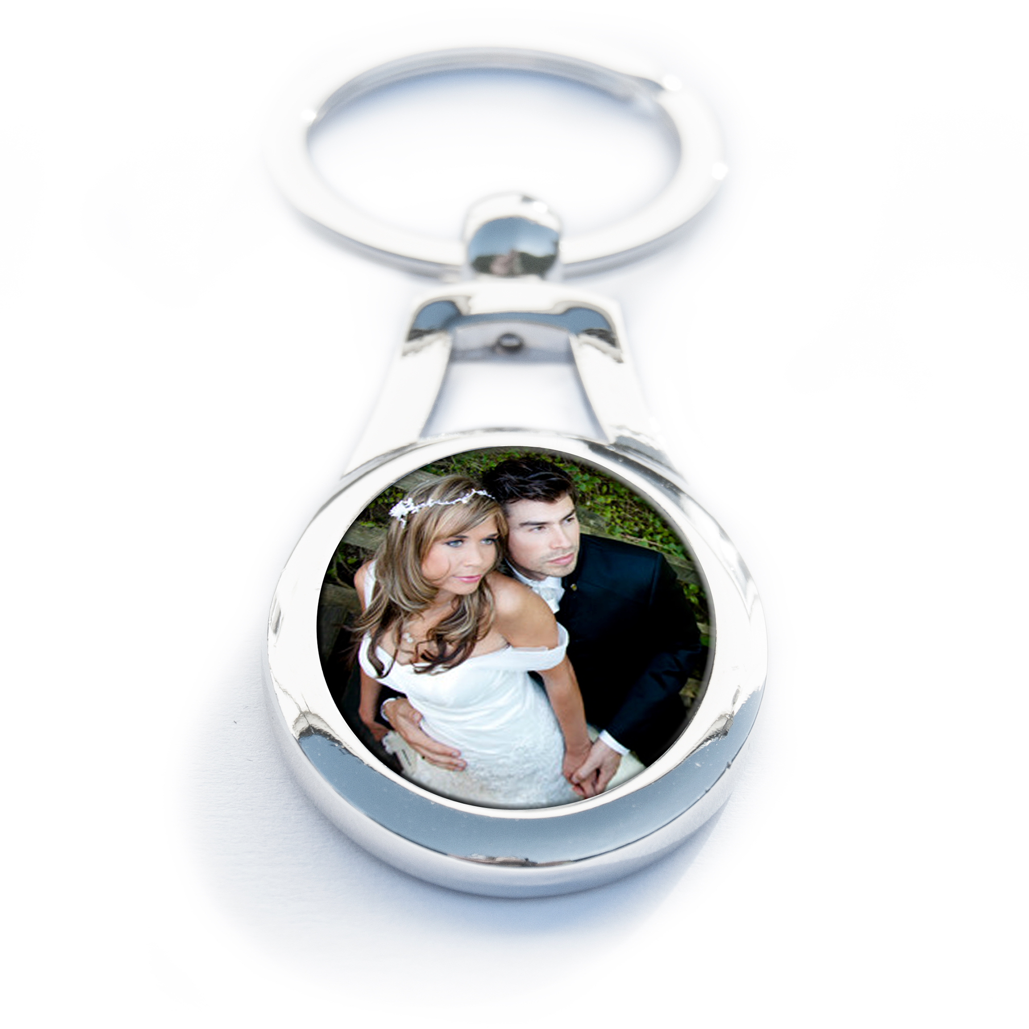 A personalised oval shaped keyring