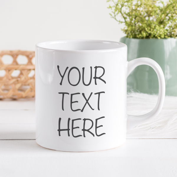 Personalised mug with text on 2 lines